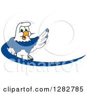 Happy Seahawk School Mascot Character Waving Over A Blue Dash Logo