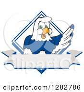 Happy Seahawk School Mascot Character Over A Diamond And Blank Banner