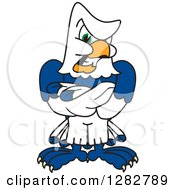 Clipart Of A Tough Seahawk School Mascot Character With Folded Arms Royalty Free Vector Illustration