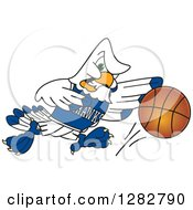 Clipart Of A Tough Seahawk Sports School Mascot Character Dribbling A Basketball Royalty Free Vector Illustration