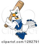 Clipart Of A Tough Seahawk Sports School Mascot Baseball Player Character Batting Royalty Free Vector Illustration