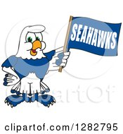 Clipart Of A Happy Seahawk Sports School Mascot Character Holding A Flag Royalty Free Vector Illustration