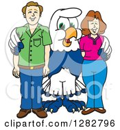 Clipart Of A Happy Seahawk School Mascot Character Posing With Parents Royalty Free Vector Illustration