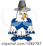 Clipart Of A Happy Seahawk School Mascot Character Wearing A Thanksgiving Pilgrim Hat Royalty Free Vector Illustration