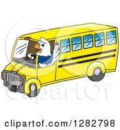 Clipart Of A Happy Seahawk School Mascot Character Waving And Driving A Bus Royalty Free Vector Illustration