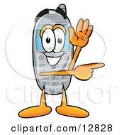 Wireless Cellular Telephone Mascot Cartoon Character Waving From Inside A Computer Screen
