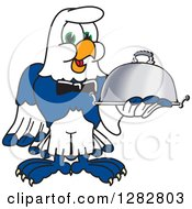Clipart Of A Happy Seahawk School Mascot Character Waiter Holding A Cloche Platter Royalty Free Vector Illustration