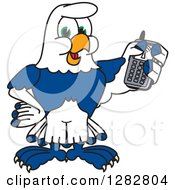 Clipart Of A Happy Seahawk School Mascot Character Holding A Cell Phone Royalty Free Vector Illustration