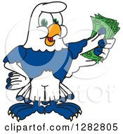 Clipart Of A Happy Seahawk School Mascot Character Holding Cash Money Royalty Free Vector Illustration