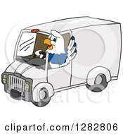 Clipart Of A Happy Seahawk School Mascot Character Waving And Driving A Delivery Van Royalty Free Vector Illustration