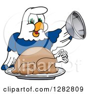 Clipart Of A Happy Seahawk School Mascot Character Serving A Thanksgiving Turkey Royalty Free Vector Illustration by Toons4Biz