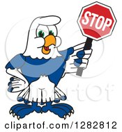Clipart Of A Happy Seahawk School Mascot Character Holding A Stop Sign Royalty Free Vector Illustration