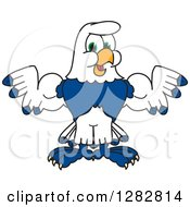 Clipart Of A Happy Seahawk Sports School Mascot Character Flexing His Muscles Royalty Free Vector Illustration by Toons4Biz