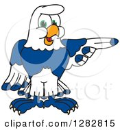 Clipart Of A Happy Seahawk School Mascot Character Pointing To The Right Royalty Free Vector Illustration by Toons4Biz