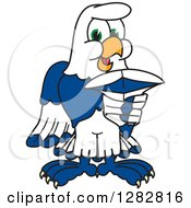 Clipart Of A Happy Seahawk School Mascot Character Pointing Outwards Royalty Free Vector Illustration