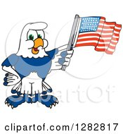 Clipart Of A Happy Seahawk School Mascot Character Holding An American Flag Royalty Free Vector Illustration by Toons4Biz