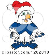 Clipart Of A Happy Christmas Seahawk School Mascot Character Wearing A Santa Hat Royalty Free Vector Illustration by Toons4Biz