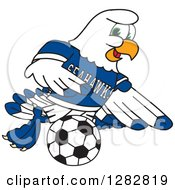 Clipart Of A Happy Seahawk Sports School Mascot Character Playing Soccer Royalty Free Vector Illustration by Toons4Biz