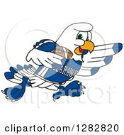 Clipart Of A Happy Seahawk Sports School Mascot Character Running With An American Football Royalty Free Vector Illustration