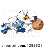 Clipart Of A Happy Seahawk Sports School Mascot Character Dribbling A Basketball Royalty Free Vector Illustration by Toons4Biz