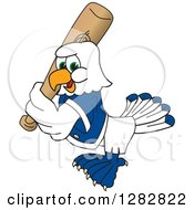 Clipart Of A Happy Seahawk Sports School Mascot Baseball Player Character Batting Royalty Free Vector Illustration by Toons4Biz