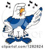Clipart Of A Happy Seahawk School Mascot Character Singing In Chorus Royalty Free Vector Illustration by Toons4Biz