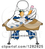 Clipart Of A Seahawk School Mascot Character Writing At A Desk Royalty Free Vector Illustration by Toons4Biz