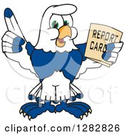 Happy Seahawk School Mascot Character Holding Up A Finger And A Report Card