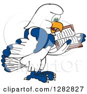 Clipart Of A Happy Seahawk School Mascot Character Facing Right And Reading A Book Royalty Free Vector Illustration