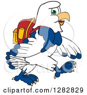 Clipart Of A Happy Seahawk School Mascot Character Student Walking Royalty Free Vector Illustration by Toons4Biz