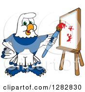 Clipart Of A Happy Seahawk School Mascot Character Artist Painting On A Canvas Royalty Free Vector Illustration