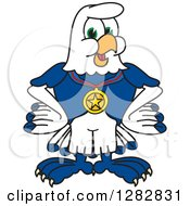 Clipart Of A Happy Seahawk Sports School Mascot Character Wearing A Medal Royalty Free Vector Illustration