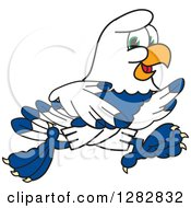 Clipart Of A Happy Seahawk Sports School Mascot Character Running Royalty Free Vector Illustration
