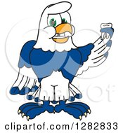 Clipart Of A Happy Seahawk School Mascot Character Holding A Tooth That Has Fallen Out Royalty Free Vector Illustration by Toons4Biz