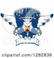Clipart Of A Tough Seahawk School Mascot Character Flying With Claws Extended Out Of A Shield With Text And A Blank Banner Royalty Free Vector Illustration
