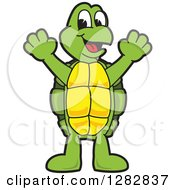 Clipart Of A Happy Turtle School Mascot Character Cheering Royalty Free Vector Illustration