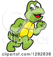 Clipart Of A Happy Turtle School Sports Mascot Character Running Royalty Free Vector Illustration