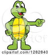 Clipart Of A Happy Turtle School Mascot Character Pointing To The Right Royalty Free Vector Illustration