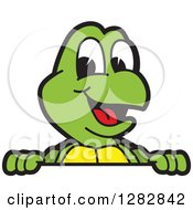 Clipart Of A Happy Turtle School Mascot Character Smiling Over A Sign Royalty Free Vector Illustration