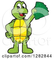 Happy Turtle School Mascot Character Holding Cash Money