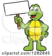 Happy Turtle School Mascot Character Holding Up A Blank Sign
