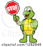 Clipart Of A Happy Turtle School Mascot Character Gesturing And Holding A Stop Sign Royalty Free Vector Illustration