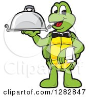 Clipart Of A Happy Turtle School Mascot Character Waiter Holding A Cloche Platter Royalty Free Vector Illustration