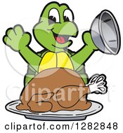 Clipart Of A Happy Turtle School Mascot Character Serving A Roasted Thanksgiving Turkey Royalty Free Vector Illustration