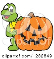 Clipart Of A Happy Turtle School Mascot Character Looking Around A Halloween Jackolantern Pumpkin Royalty Free Vector Illustration