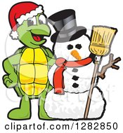 Clipart Of A Happy Christmas Turtle School Mascot Character With A Winter Snowman Royalty Free Vector Illustration