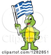 Clipart Of A Happy Turtle School Mascot Character Holding A Greek Flag Royalty Free Vector Illustration