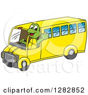 Clipart Of A Happy Turtle School Mascot Character Waving And Driving A Bus Royalty Free Vector Illustration