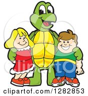 Clipart Of A Happy Turtle School Mascot Character Posing With Students Royalty Free Vector Illustration