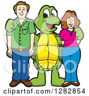 Happy Turtle School Mascot Character Posing With Parents